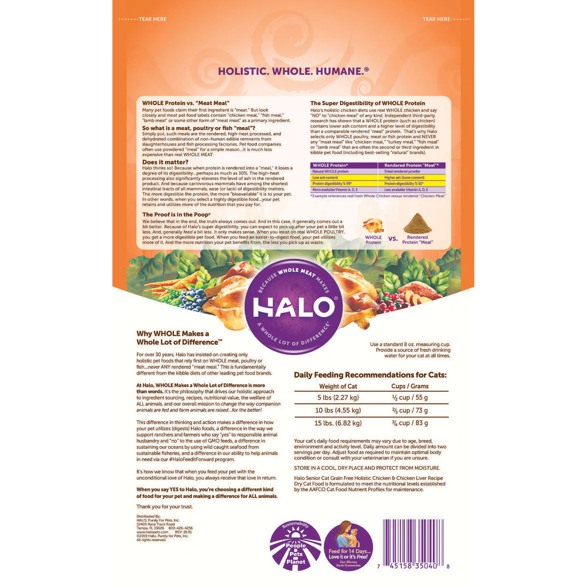 Halo 7 Senior Cat Holistic Grain Free Chicken Chicken Liver Recip Halo Pets