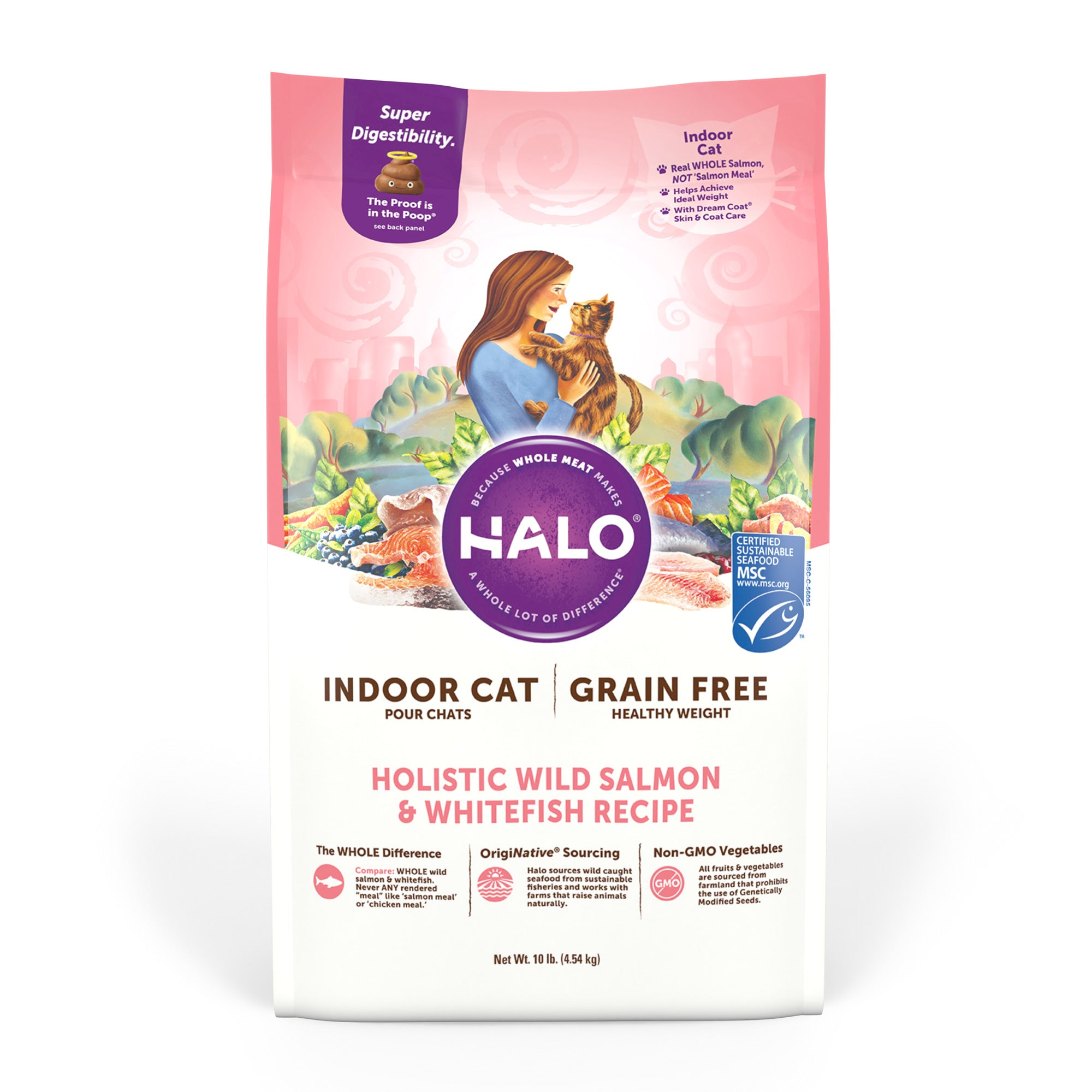 Halo Indoor Cat - Holistic Healthy Weight Grain Free Wild Salmon & Whitefish Recipe