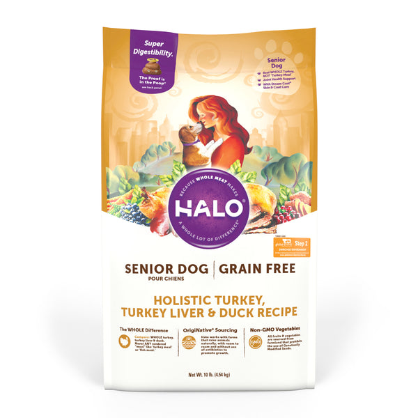 Halo Senior Dog - Holistic Grain Free Turkey, Turkey Liver & Duck Recipe