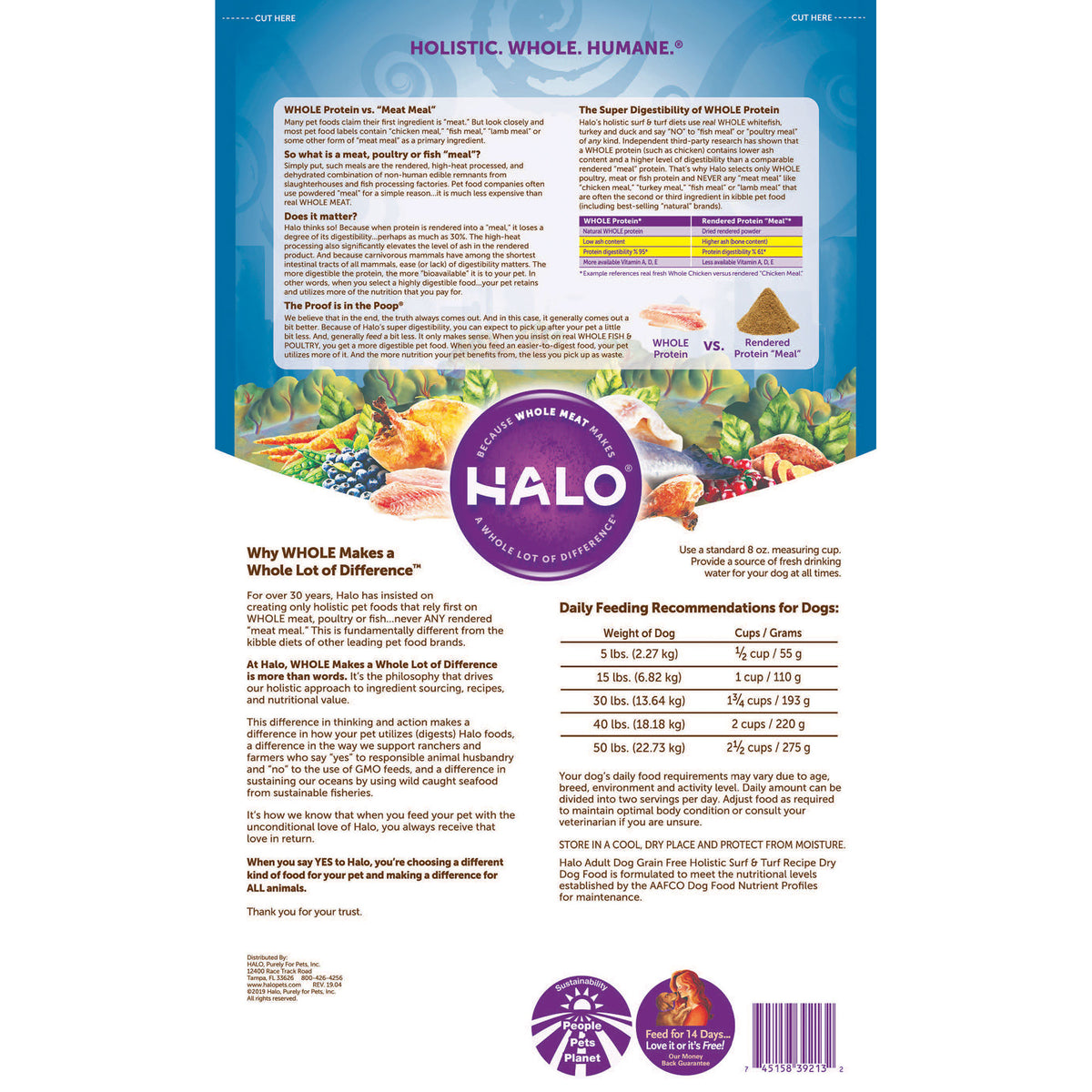 Halo Adult Dog Holistic Grain Free Surf Turf Recipe Halo Pets