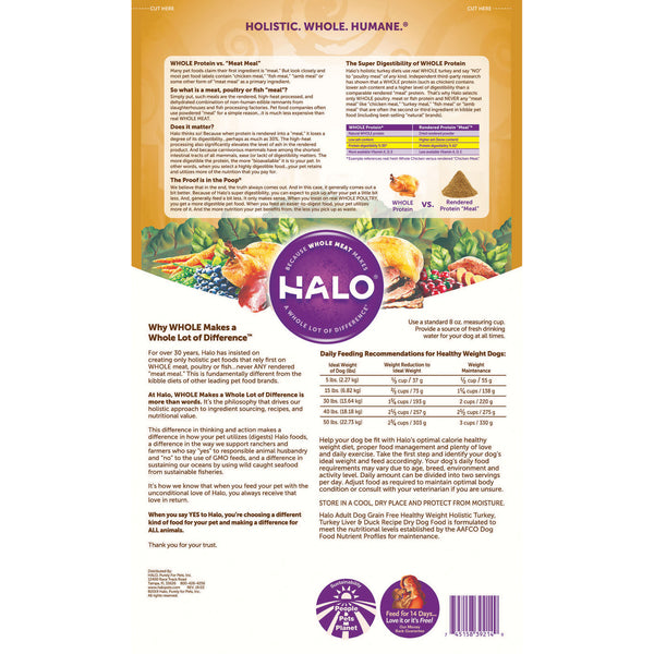 Halo Adult Dog - Holistic Healthy Weight Grain Free Turkey, Turkey Liver & Duck Recipe