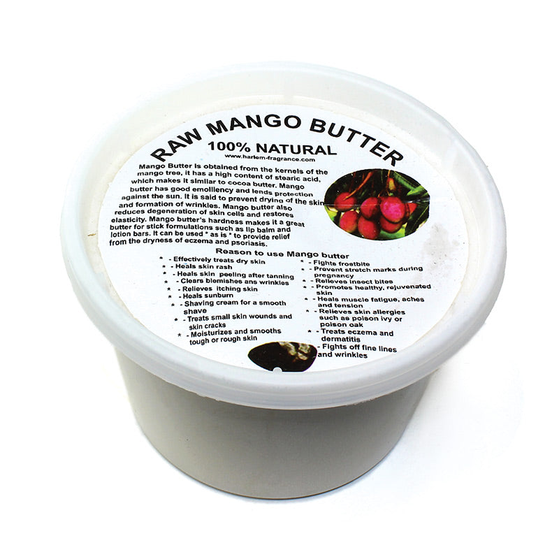 Discover the tropical answer to skincare with mango butter. Mango butter is extracted from the de-shelled fruit kernels of the mango tree. It has natural emollient properties; high oxidative ability; wound healing, and regenerative activity due to its high unsaponifiable; an extract that softens the skin and reduces scars. It also has a protective effect against UV radiation.