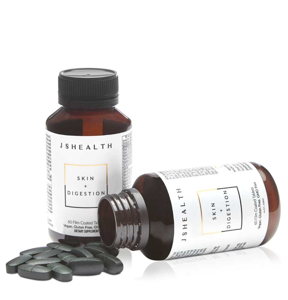 Skin + Digestion - 60 Tablets     Designed to support skin health, and reduce acne, pimples and mild eczema.     DESCRIPTION     Vegan. Gluten-Free. GMO-Free     JSHealth believes in truly nurturing the body and nourishing it with the right nutrients and herbs to reach its full potential.