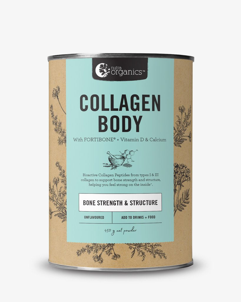 Nutra Organics Collagen Body.Collagen Body is a natural formulation for anyone living an active lifestyle, or anyone concerned with their bone health, to help you feel strong inside with bioactive collagen peptides FORTIBONE®, Vitamin D and Calcium to support bone strength and structure~.  Collagen is abundant in skin, muscles, bones, joints and connective tissue, and begins to degenerate from our mid 20s.