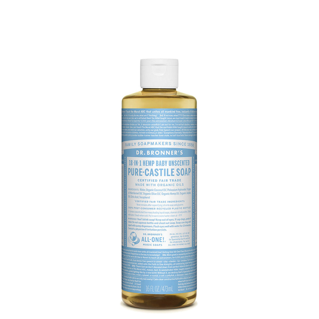 With no added fragrance and double the olive oil, our Baby Unscented Pure-Castile Liquid Soap is good for sensitive skin – babies too (though not tear-free!). Dr. Bronner's soap is concentrated, biodegradable, versatile and effective. Made with organic and certified fair trade ingredients, packaged in a 100% post-consumer recycled bottle. All-One!   Dr. Bronner's 18-in-1 Pure-Castile Soaps are good for just about any cleaning task. Face, body, hair – food, dishes, laundry, mopping, pets – clean your house a