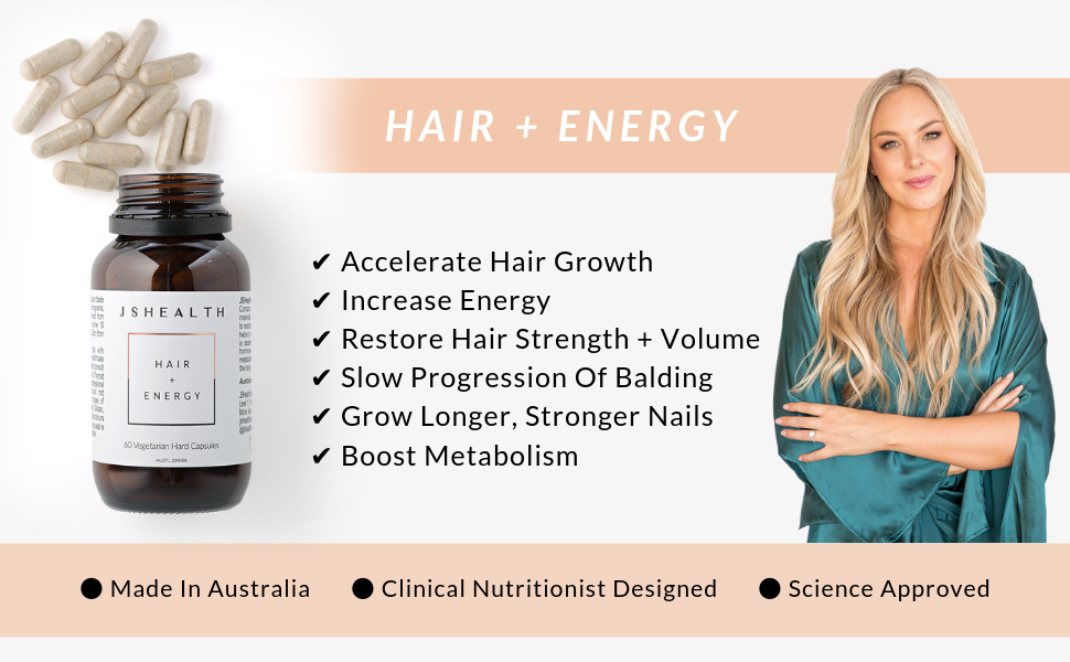 Support healthy, luscious locks and lasting energy with our best-selling hair vitamins! Our Hair + Energy formula contains an exclusive type of Kelp (which JSHealth have even trademarked!), proven to support hair growth... Nothing but the best! These hair supplements have achieved the most incredible results! HAIR: These vitamins contain a therapeutic dose of Iodine from Kelp, which helps to restore hair strength and volume and naturally supports hair growth, as well as Zinc, which helps maintain normal hea