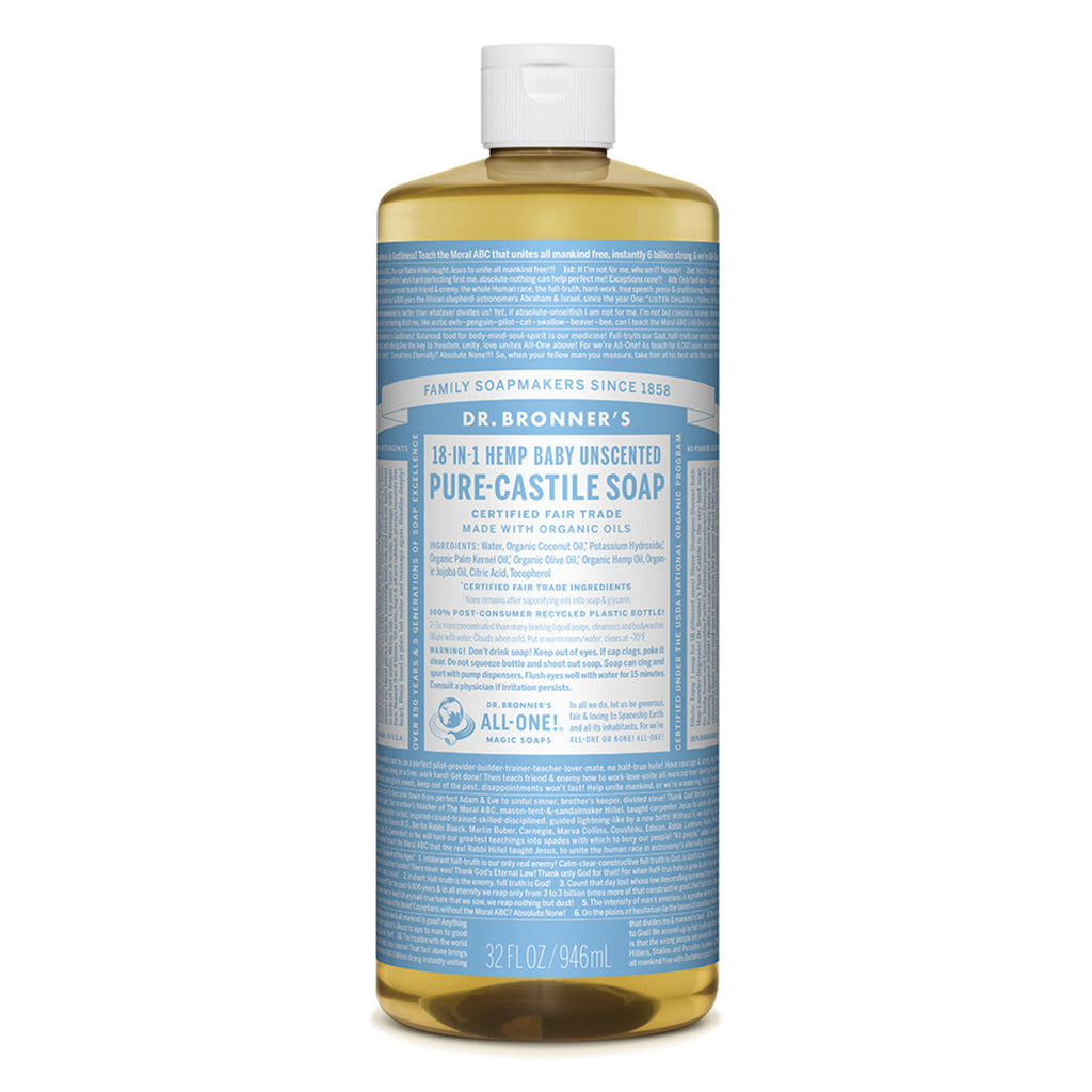 Dr. Bronner's Pure-Castile Soap Liquid (Hemp 18-in-1) Baby Unscented 946ml Buy online Sydney Australia. Free delivery over $60.00
