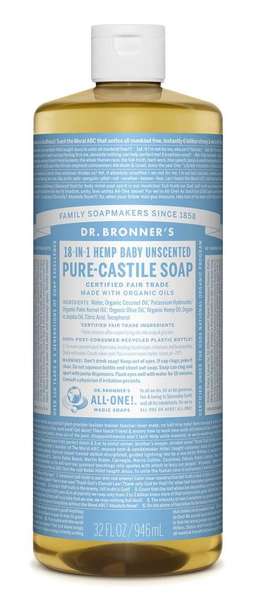 946ml Dr. Bronner's Pure-Castile Soap Liquid (Hemp 18-in-1) Baby Unscented 946ml.