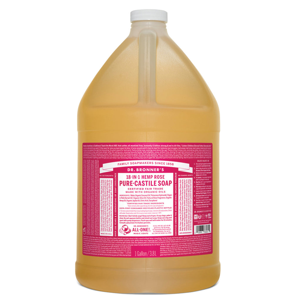 Dr. Bronner's Pure-Castile Soap Liquid (Hemp 18-in-1) Rose 3.78L. Buy in bulk online and save