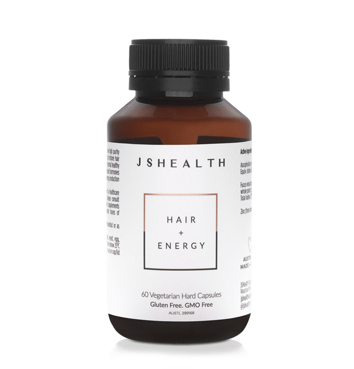 HAIR + ENERGY FORMULA - 60 CAPSULES  Restores hair strength and volume, and gives you energy for the day.  This best-selling hair growth formula is designed to boost your hair length, volume and shine, strengthen your nails and give you a natural energy lift... It's unlike any other hair growth vitamin on the market.