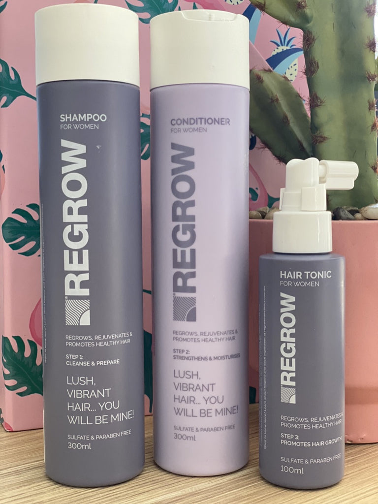 REGROW Hair Clinics Shampoo, Conditioner and Tonic- Womens 3 Month Pack
