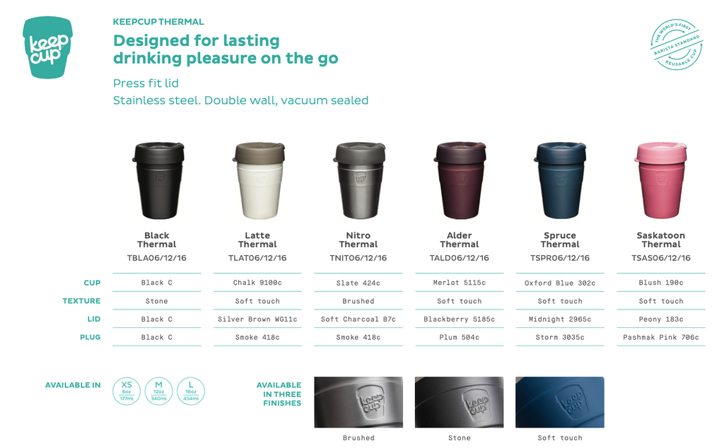 Black, Latte, Nitro, Alder, Spruce, Saskatoon Thermal Keep Cup KeepCup 12oz and 16oz