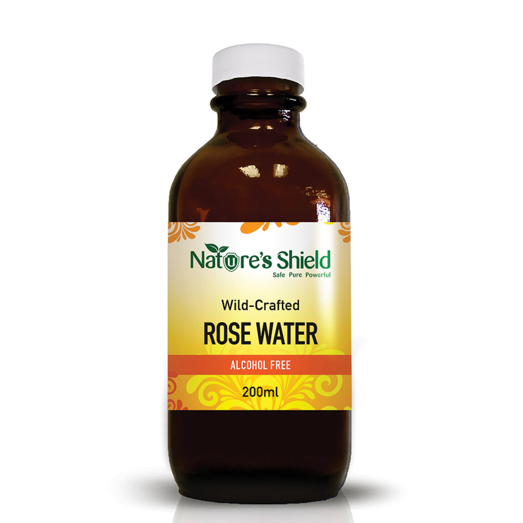 Nature's Shield Wild-Crafted Rose Water 200ml. Sydney Australia. Use in Food and beverages and cosmetic/ hair. Cromer NSW. Sydney Australia. Free delivery Australia wide for orders over $60.00.