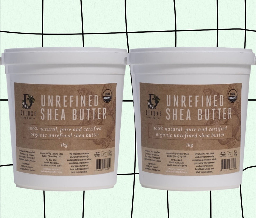 Deluxe Shea Butter - 2x 1kg Tubs  100% natural, pure and certified organic unrefined shea butter  2x 1kg Tubs.   FREE SHIPPING OVER $60 to anywhere in Australia.   Natural Moisturising Shea Butter Skincare. The most amazing Shea Butter avaiable! Premium quality, pure, unrefined, certified organic, hand-crafted, ethically sourced and cruelty free. You cannot get any better than this amazing Shea Butter.