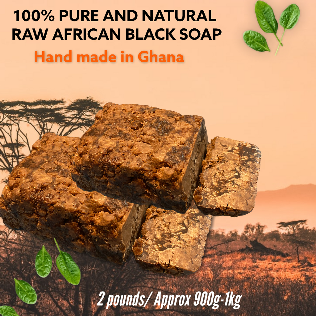 100% PURE AND NATURAL RAW AFRICAN BLACK SOAP – 2lb/ 2 x 450-500g blocks (total weight is 900g-1kg)    THIS ITEM HAS FREE SHIPPING!    Handmade in Ghana, Africa.     SAME GREAT SOAP AS A MORE ECONOMICAL OPTION FOR OUR CUSTOMERS!     2x 1 Pound Blocks (each block weighs between 450-500g. We are selling it as 1 pound/450g however most of the blocks weigh more than this. They are hand cut so weights vary). You will receive 2 x 1 pound blocks.