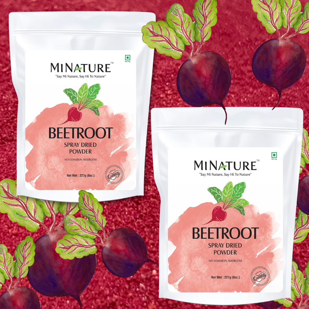 Beetroot Powder-•	Packed with Vitamins A, B6, and C, calcium, iron, folate, phosphorus, and potassium. •	Strengthens heart health. When it comes to heart health, beets' biggest benefit is improved blood pressure.