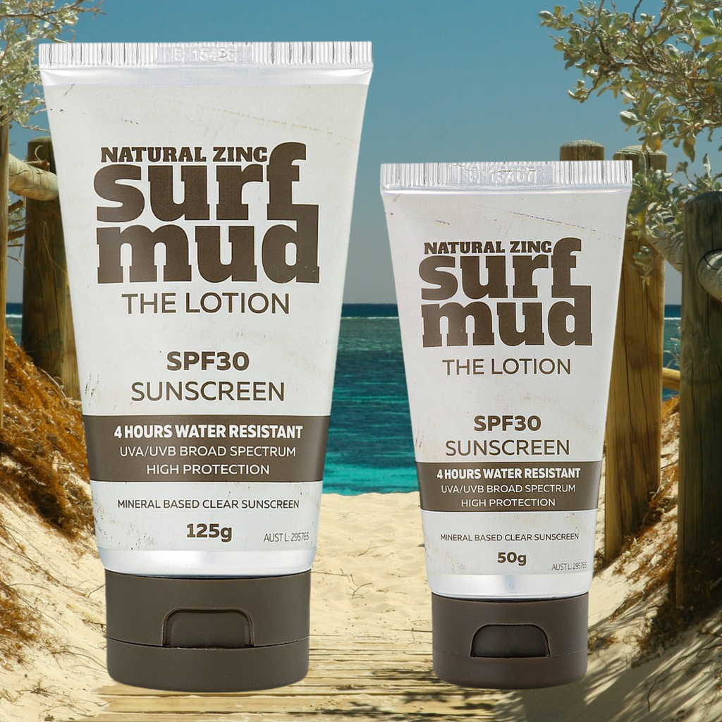 SURFMUD – The Lotion SPF30     Natural Zinc Sunscreen . On sale. FREE shipping over $60.00. Buy two and save