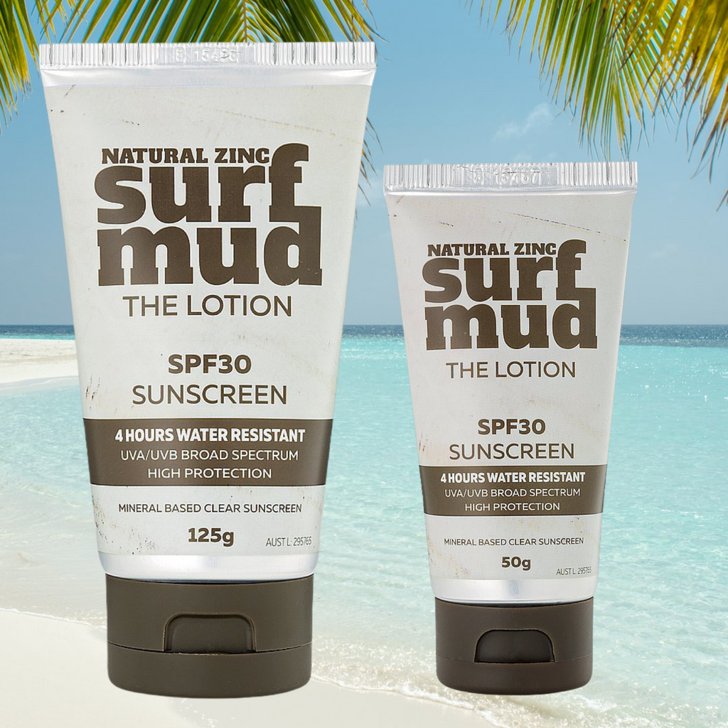 SURFMUD Natural Zinc Sunscreen SPF30 – The lotion     This hydrating, sweat resistant formulation for the face and body protects the skin from the harsh conditions faced by surfers. High protection while avoiding chemical UV filters. Surfmud's SPF30 sunscreen is a 4-hour water-resistant, natural product that provides UVA/UVB broad-spectrum protection without chemicals and nasties. Surfmud The Lotion Zinc Sunscreen is great for the Aussie beach environment. Aussie owned and made it's perfect to address Au