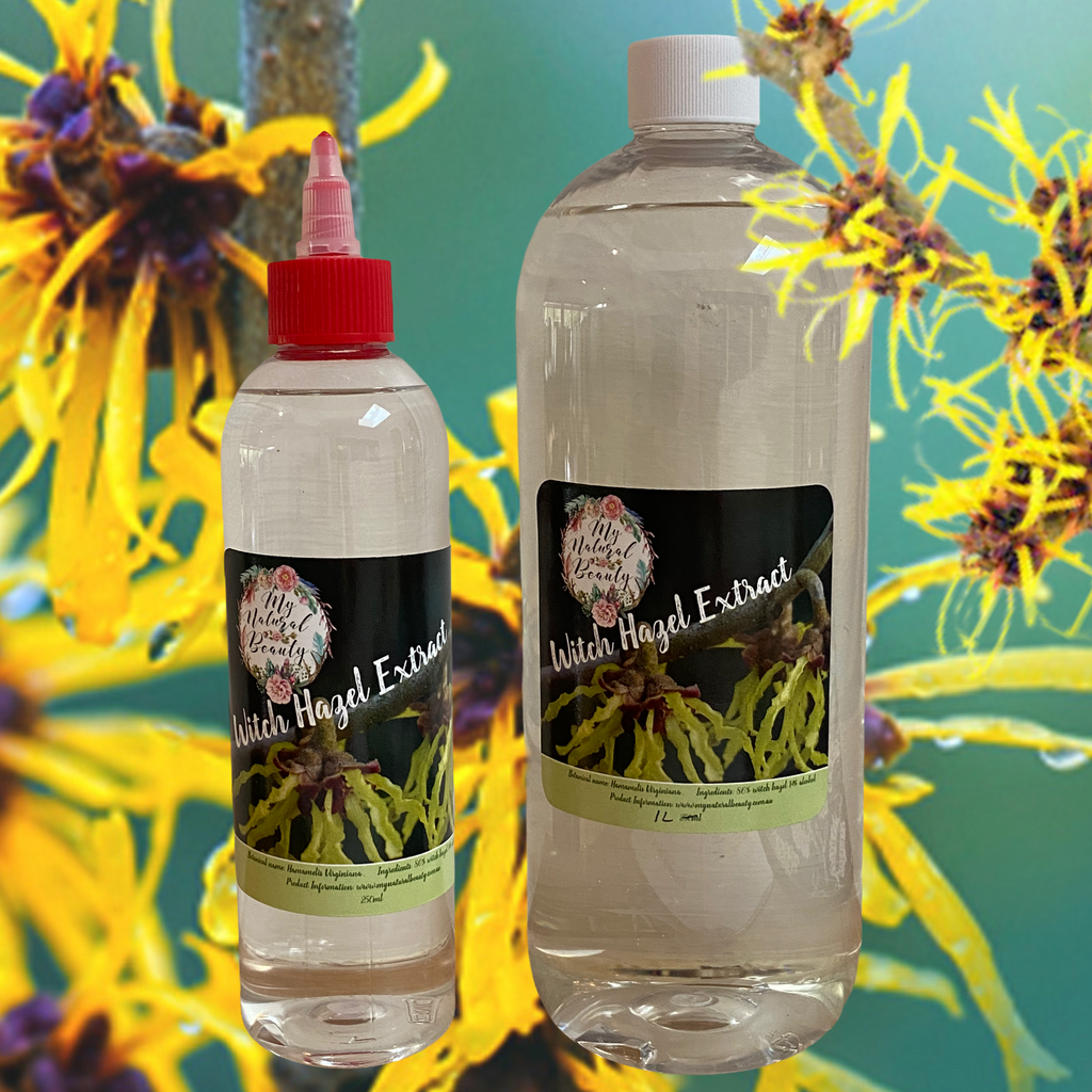 Witch Hazel Extract   Botanical name: Hamamelis Virginiana    Size Options- 250ml, 1 Litre, 2 Litre Bulk (2x 1 Litre)    Product Description:  A very versatile product with over 30 known uses, Witch Hazel Extract is used for a multitude of conditions which all make it such a valuable and widely used product. It is great addition to your skincare formulation.