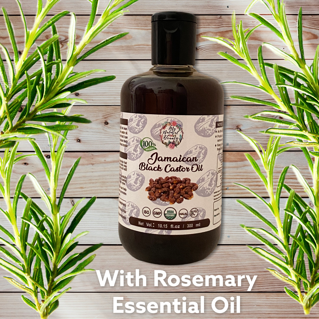 Jamaican Black Castor Oil with Rosemary Essential Oil- 100ml or 300ml  100 ml or 300ml bottle of Jamaican Black Castor Oil -100 % PURE and Natural- Hair loss treatment. Re-grow hair naturally! WITH ROSEMARY ESSENTIAL OIL added!  This is 100 % PURE JAMAICAN BLACK CASTOR OIL INFUSED WITH 100% PURE ROSEMARY ESSENTIAL OIL FOR EXTRA HAIR GROWTH RESULTS. Rosemary essential oil strengthens circulation. ...