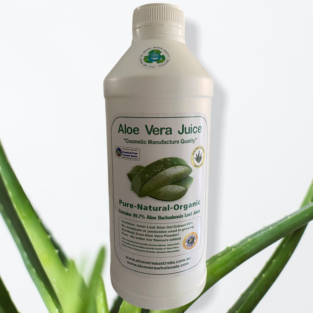 ALOE VERA JUICE- 1 Litre- Cosmetic Manufacture  Cosmetic Manufacture Quality Pure-Natural-Organic Contains 99.7% Aloe Barbadensis Leaf Juice Perfect as an ingredient in DYI cosmetics, hand sanitisers etc