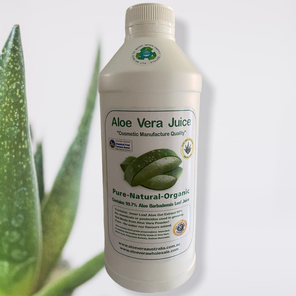 ALOE VERA JUICE- 1 Litre- Cosmetic Manufacture  Cosmetic Manufacture Quality Pure-Natural-Organic Contains 99.7% Aloe Barbadensis Leaf Juice Perfect as an ingredient in DYI cosmetics, hand sanitisers etc  Contains- Inner Leaf Aloe Gel Extract 99%. No chemicals or pesticides used in growing. Not made from Aloe Vera Powder! Pure- No water nor flavours added.