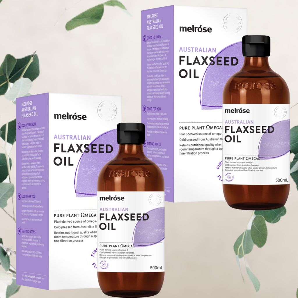 Melrose Australian Flaxseed Oil 500ml   PRODUCT DETAILS:  Melrose Flaxseed Oil is cold-pressed from Australian-grown flaxseeds. Flaxseed oil has one of the highest concentrations of plant-based essential fatty acid omega-3 alpha-linolenic acid (ALA) and is an excellent vegan alternative to fish oil.  Flaxseed oil is a delicate oil that is sensitive to heat and light. To enable this product to be stored at room temperature and retain the nutritional profile, it undergoes a specialised fine-filtration process