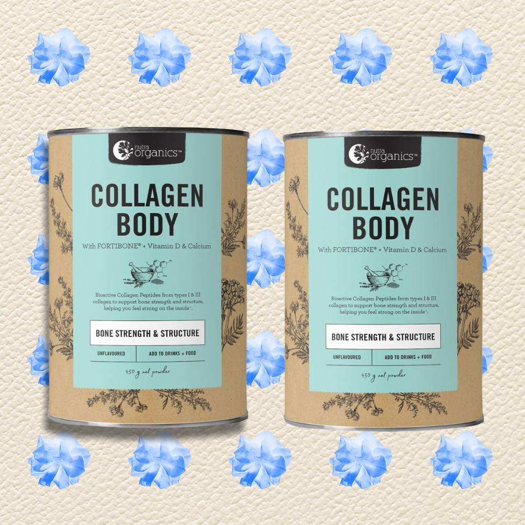 NUTRA ORGANICS COLLAGEN BODY- 225G, 450G OR 2 X 450G FREE SHIPPING AUSTRALIA WIDE FOR ALL ORDERS OVER $60.00 Collagen Body is a natural formulation for anyone living an active lifestyle, or anyone concerned with their bone strength, to help you feel strong inside with FORTIBONE® Bioactive Collagen Peptides, vitamin D and calcium to support bone strength and structure^. DUO PACK. Buy two and save. FREE SHIPPING