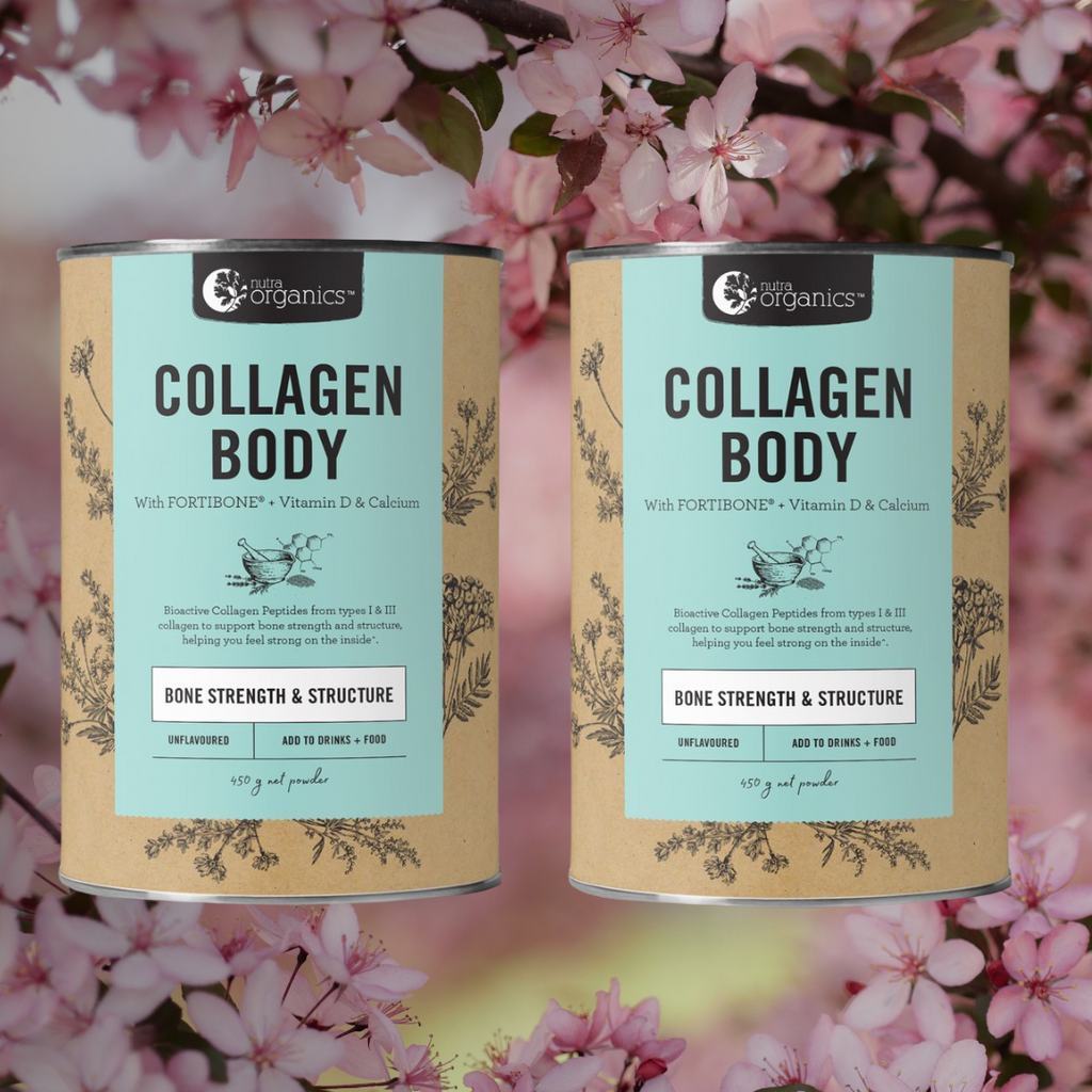 MORE INFO Collagen Body is a natural formulation for anyone living an active lifestyle, or anyone concerned with their bone health, to help you feel strong inside with bioactive collagen peptides FORTIBONE®, Vitamin D and Calcium to support bone strength and structure~.  Collagen is abundant in skin, muscles, bones, joints and connective tissue, and begins to degenerate from our mid 20s.
