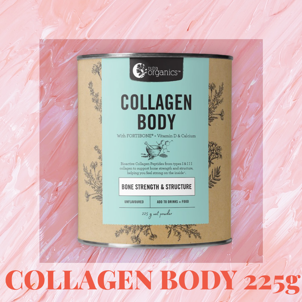 NUTRA ORGANICS COLLAGEN BODY- 225g Collagen Body is a natural formulation for anyone living an active lifestyle, or anyone concerned with their bone strength, to help you feel strong inside with FORTIBONE® Bioactive Collagen Peptides, vitamin D and calcium