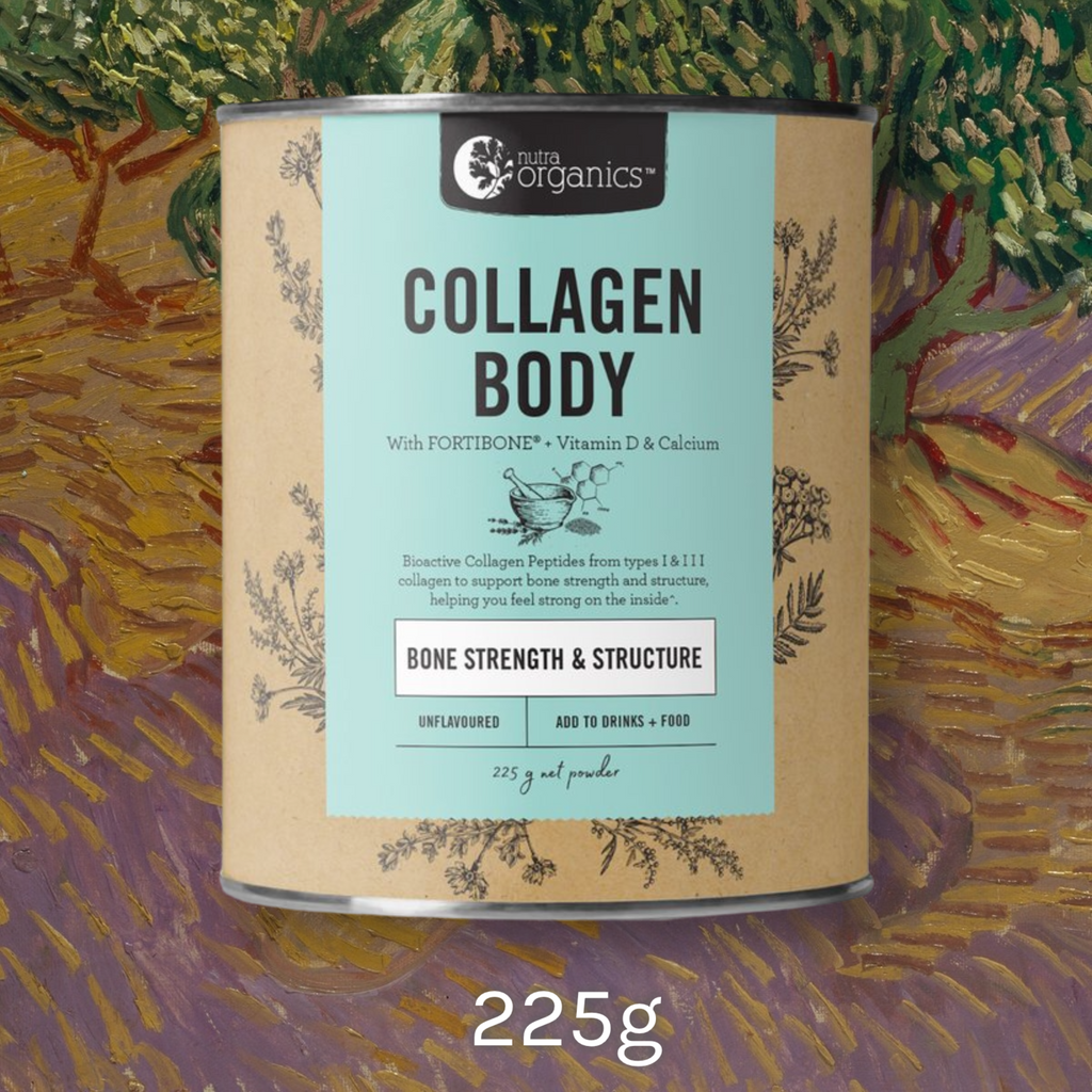 Buy online Sydney northern beaches Australia Nutra Organics Collagen Body with Fortibone for Bone Strength & Structure.