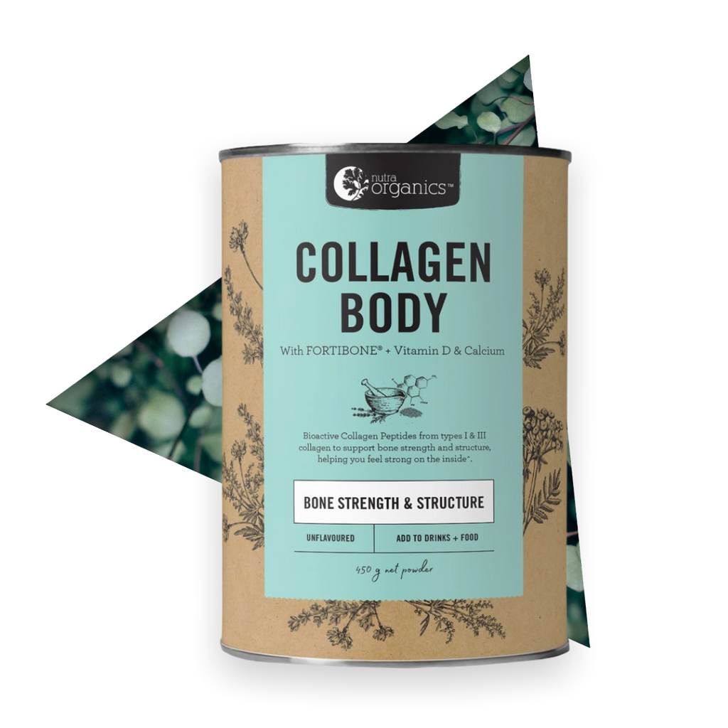 Collagen is abundant in skin, muscles, bones, joints and connective tissue, and begins to degenerate from our mid 20s.  Incorporating Collagen Body into your daily inner strength routine, together with a healthy varied diet, helps to:     Enhance bone mineral density^ Support gut wellness^ Protein to support & build tissues^ Reduce risk of osteoporotic fracture^ Regulation of digestive enzymes^ Muscle and nerve function^