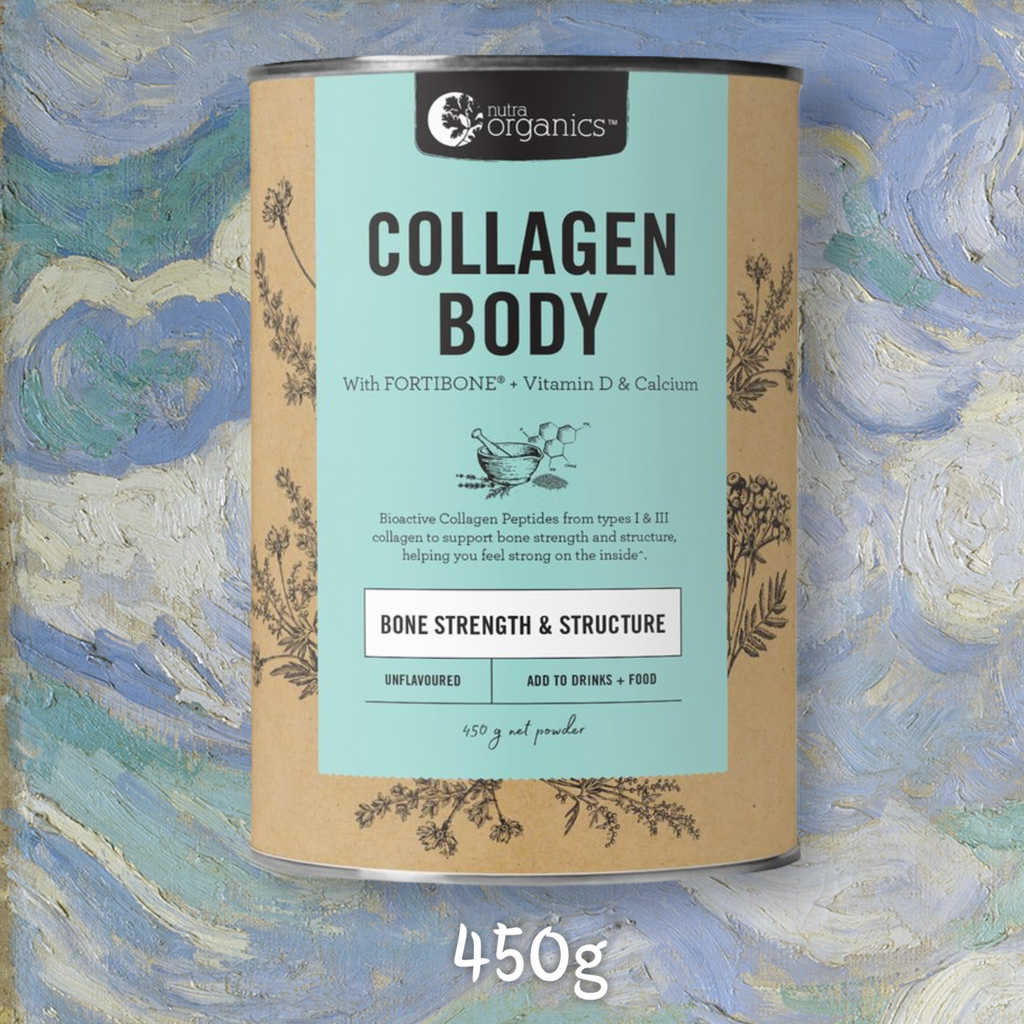 NUTRA ORGANICS COLLAGEN BODY- 225G, 450G OR 2 X 450G    FREE SHIPPING AUSTRALIA WIDE FOR ALL ORDERS OVER $60.00     Collagen Body is a natural formulation for anyone living an active lifestyle, or anyone concerned with their bone strength, to help you feel strong inside with FORTIBONE® Bioactive Collagen Peptides, vitamin D and calcium to support bone strength and structure^.