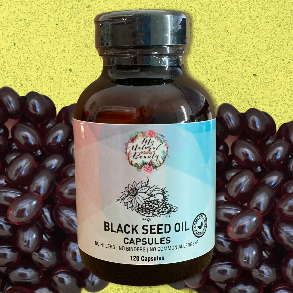 ORGANIC BLACK SEED OIL CAPSULES- 120 Capsules  100% PURE and NATURAL ORGANIC BLACK SEED OIL CAPSULES (NIGELLA SATIVA OIL) (Cold-Pressed)  Ingredients: BLACK SEED OIL (NIGELLA SATIVA OIL) (Cold-Pressed), soft gel vegetarian capsules.  120 capsules provides 60 servings of two capsules. Each serving contains 900mg of Black Seed Oil. My Natural Beauty's Black Seed Oil capsules are the supplement of choice that may help support a healthy immune system. These capsules are rich in antioxidants and contain an abun