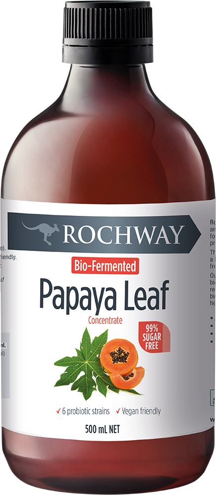 Buy Online. Australia. On Sale.Bio-Fermented Papaya Leaf Concentrate- 500ml NET Health Benefits of Papaya Leaf Concentrate:  Superfood rich Supports gut health and digestion Antioxidant superfood Everyday wellbeing Promotes hydration 6 probiotic strains PRODUCT DESCRIPTION:  Bio-Fermented Papaya Leaf is great as a daily shot to support gut health and digestion Papaya is known to contain the digestive enzyme Papain which aids digestion Antioxidant properties Everyday wellbeing Gluten and lactose free, 99% su