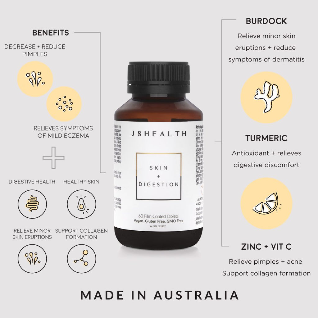Buy JS Health JSHealth Skin + Digestion online Sydney Australia. Northern Beaches of Sydney. Cromer, Dee Why area. Free delivery over $60.00