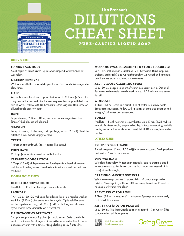 Dr Bronner's dilutions cheat sheet Pure Castile Liquid soap