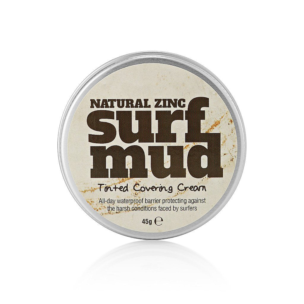 Surfmud – Natural Zinc: Tinted Covering Cream 45g   Surfmud is 45g of natural zinc-based tinted covering cream – made by surfers, for surfers.    Surfmud is a natural zinc-based tinted covering cream – made by surfers, for surfers. Summer is here!  Get your hands on some of this before the next swell arrives or grab some before heading off for your next surf trip in the tropics. Mud Up!  Product Ingredients  Zinc Oxide, Coco Caprylate/Caprate, Beeswax, Lanolin, Kaolin, Iron Oxides.