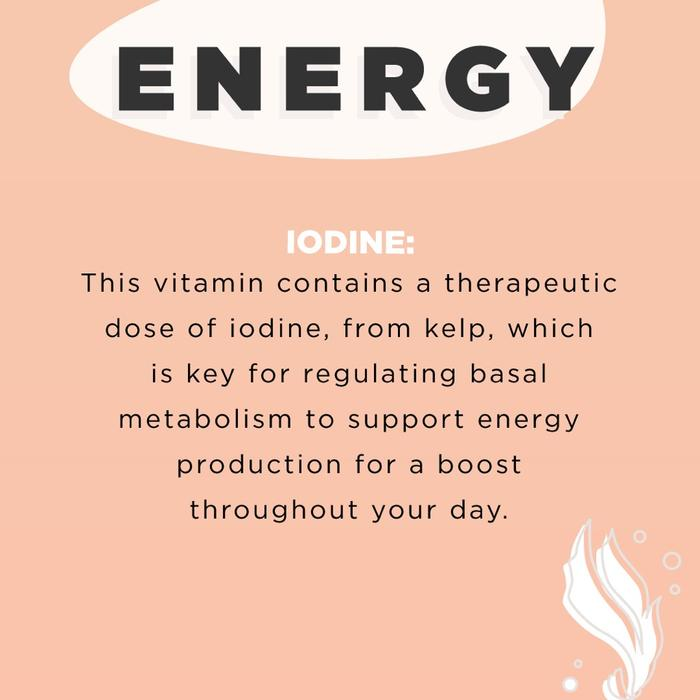 Iodine for energy. JS Health Hair and Energy.JSHealth love their specific kelp so much, they actually trademarked it - so you can be sure, no other vitamin on the market can offer the same benefits! Every specific ingredient in each of the formulas is supported by scientific research and traditional information.