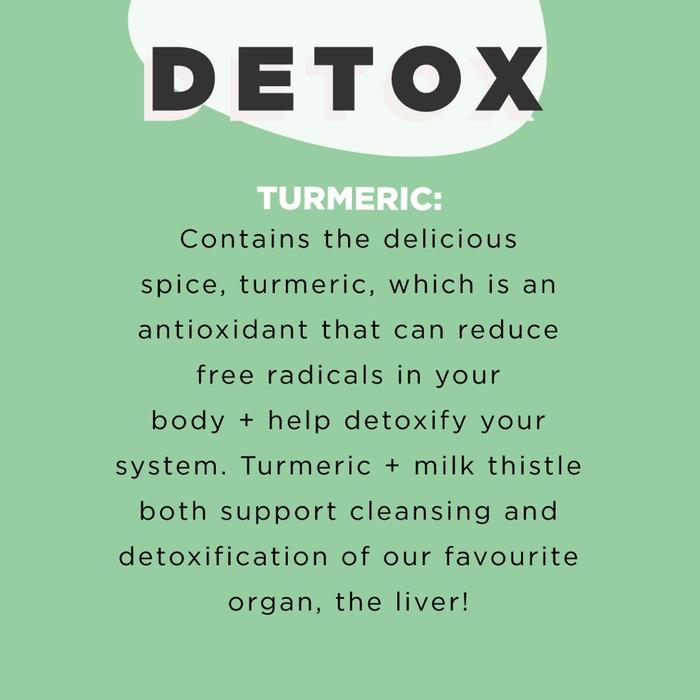 DETOX: Milk Thistle is traditionally used in western herbal medicine to maintain and support natural liver cleansing and detoxification processes. Turmeric is proven to maintain and support liver health, and acts as a hepatoprotectant to protect the liver. Turmeric is also a strong antioxidant, which can reduce free radicals formed in the body. JS Health