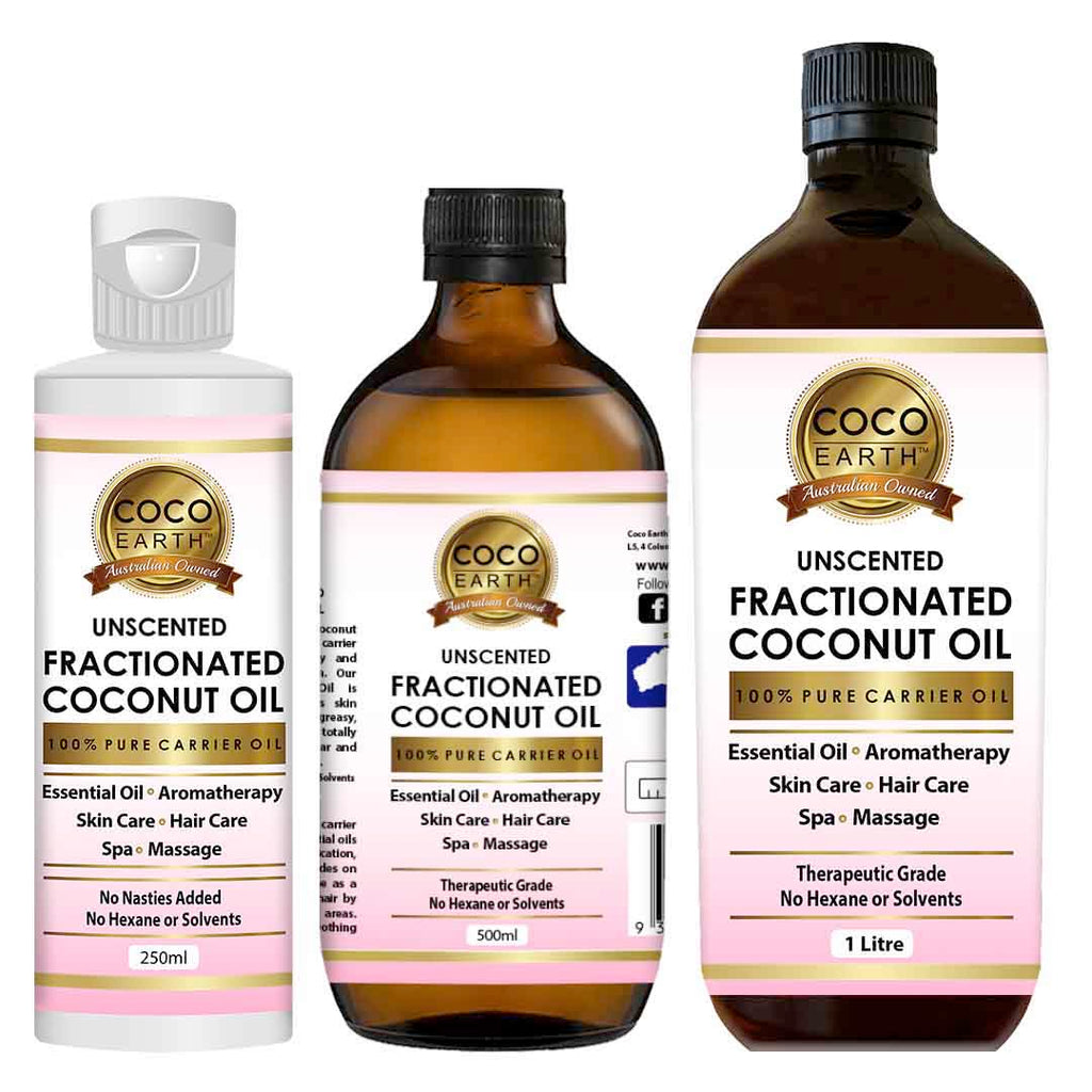 Coco Earth Fractionated Coconut Oil  Available Sizes (please choose from the menu):  250ml, 500ml or 1 Litre  Our 100% Pure Fractionated Coconut Oil works as an excellent carrier oil or base oil for a range of health & beauty products such as conditioner, soaps, skin care products, essential oils, hair care products, moisturizer, lotions and many more. Prepared from the organically grown coconuts, Coco Earth's Fractionated Coconut Oil has a myriad of benefits and is pure as possible. It is good for Skincare