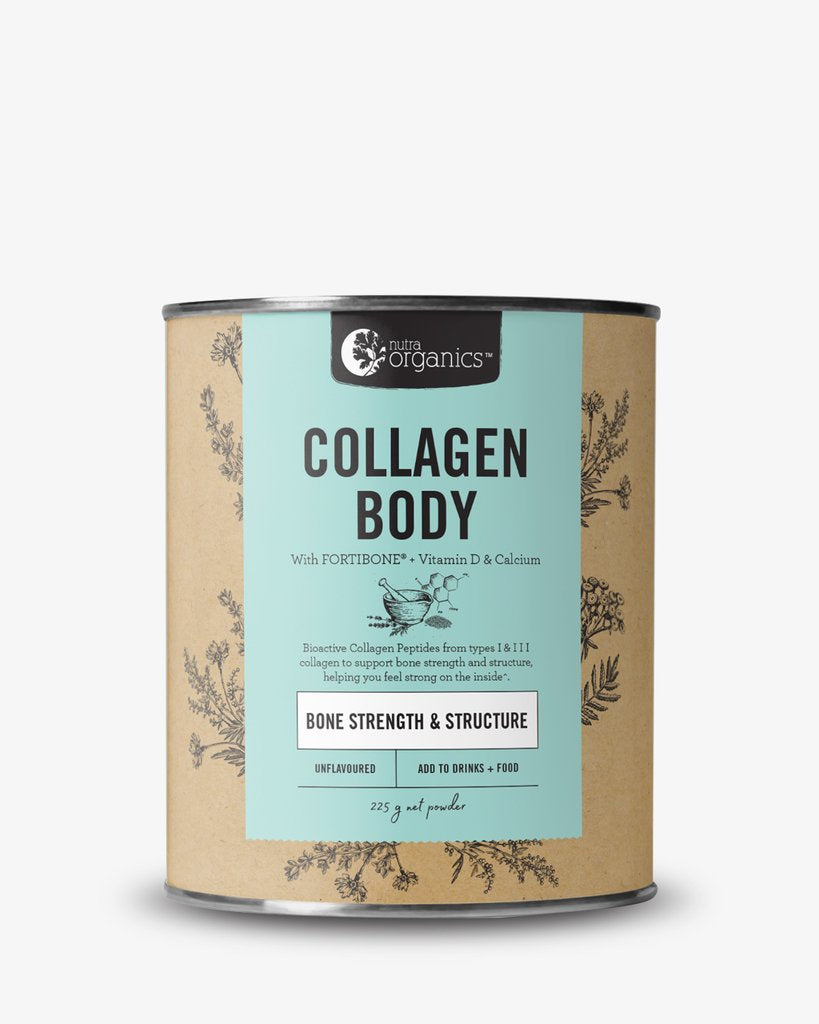 Nutra Organics Collagen Body. Buy online. FREE shipping over $60 Australia wide.Collagen Body is a natural formulation for anyone living an active lifestyle, or anyone concerned with their bone strength, to help you feel strong inside with FORTIBONE® Bioactive Collagen Peptides, vitamin D and calcium to support bone strength and structure^.