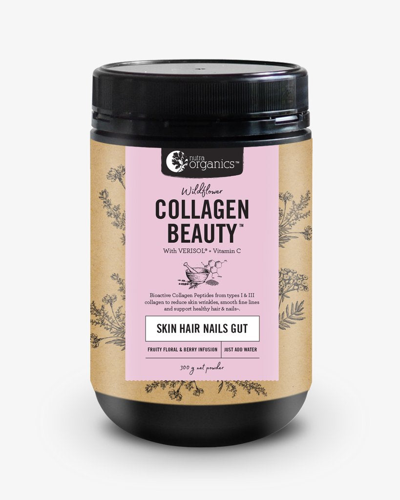 Nutra Organics Collagen Beauty- Wildflower- 300g    Glow from the inside out with Collagen Beauty™ with VERISOL®, a natural formulation to reduce skin wrinkles and smooth fine lines, increase skin hydration and elasticity, and support healthy hair & nails. Buy online Australia.