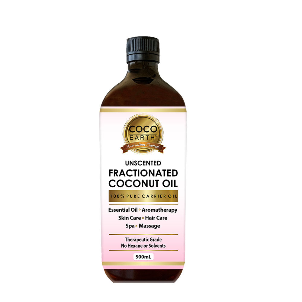 Coco Earth Fractionated Coconut Oil  Available Sizes (please choose from the menu):  250ml, 500ml or 1 Litre  Our 100% Pure Fractionated Coconut Oil works as an excellent carrier oil or base oil for a range of health & beauty products such as conditioner, soaps, skin care products, essential oils, hair care products, moisturizer, lotions and many more. Prepared from the organically grown coconuts, Coco Earth's Fractionated Coconut Oil has a myriad of benefits and is pure as possible. It is good for Skincar