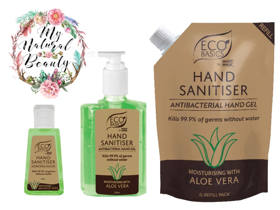 Eco Basics Hand Sanitiser. Free delivery over $60.o00. Buy online Australia. Moisturising with Aloe Vera.