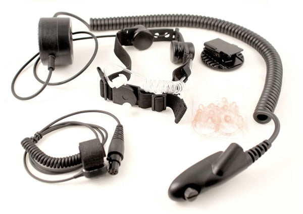 Tactical Throat Mic Fits Harris M/A Com P5300, P5400, P7300 and Unity XG‐75 - First Source Wireless