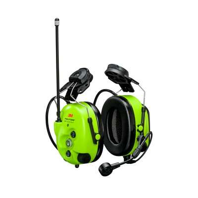 3M PELTOR WS LiteCom Pro III Headset MT73H7P3E4D10NA GB, Bright Yellow, Hard Hat Attached
