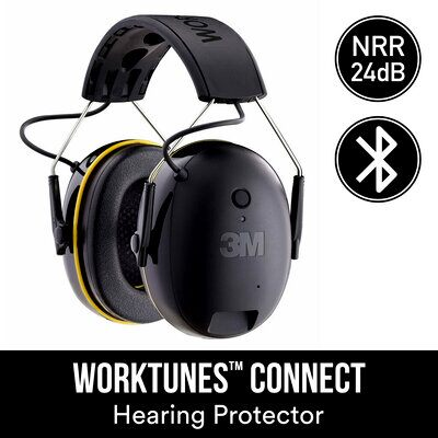 3M WorkTunes Connect Wireless Hearing Protector with Bluetooth Technology, 90543H1-DC-PS, 4/case - First Source Wireless