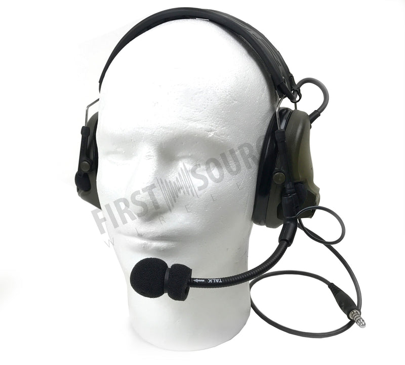 3M PELTOR ComTac V Headset MT20H682FB-47 GN, Foldable, Single Lead, Standard Dynamic Mic, NATO Wiring, Green - First Source Wireless