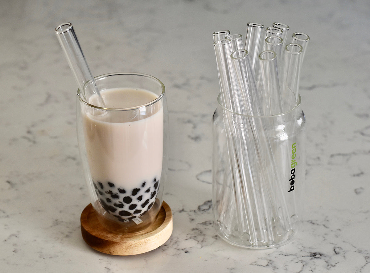 Reusable Glass Straw Set for Boba, Bubble Tea, Smoothies
